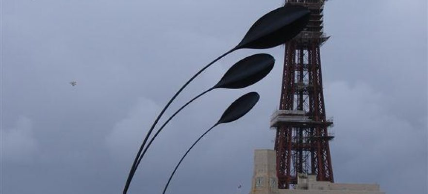 Dune Grass Blackpool Showing all four spars on Blackpool seafront flexing in a strong wind