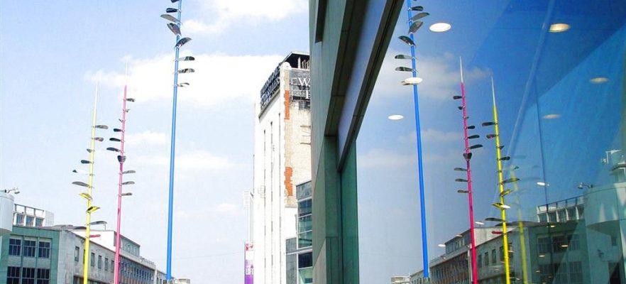 Birmingham Lightwands Showing all three spars at the Bullring Birmingham